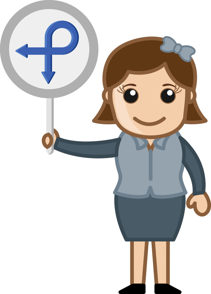 Woman Showing Circular Way Board Vector