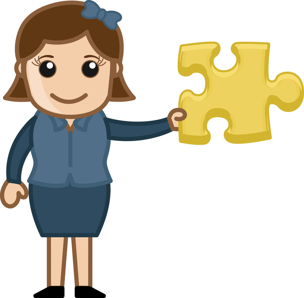 Woman Showing Puzzle Piece - Solution Concept