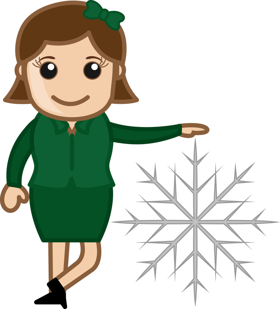 Woman Standing With Little Snowflake Vector