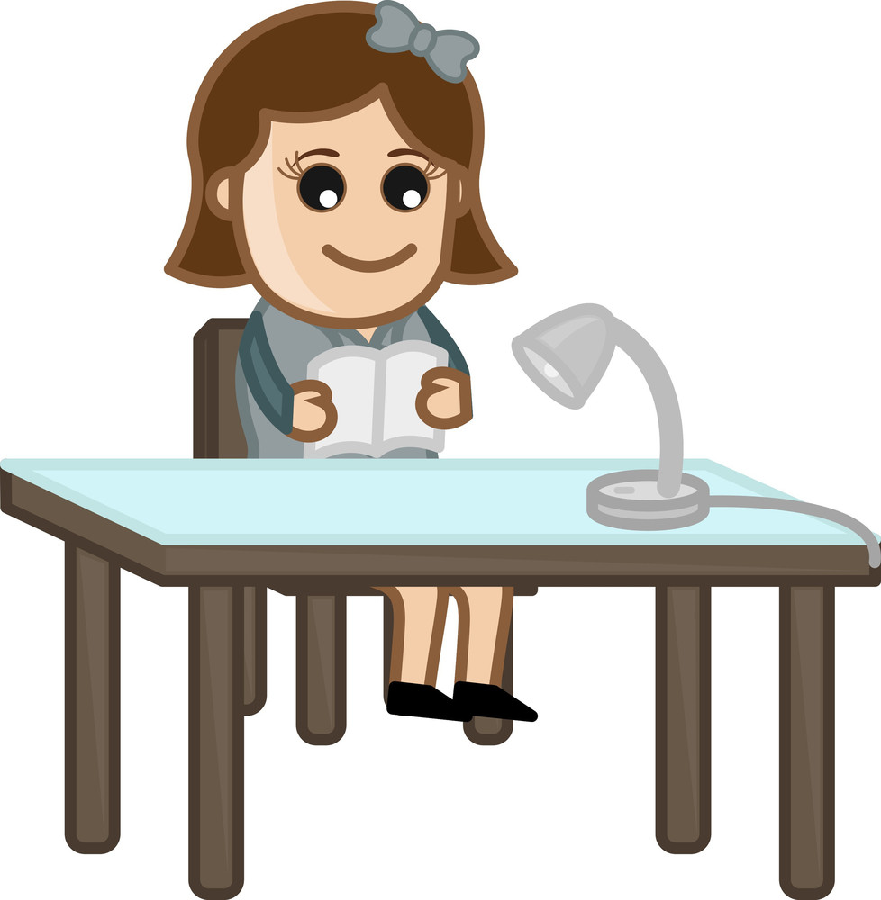 Woman Studying - Cartoon Office Vector Illustration