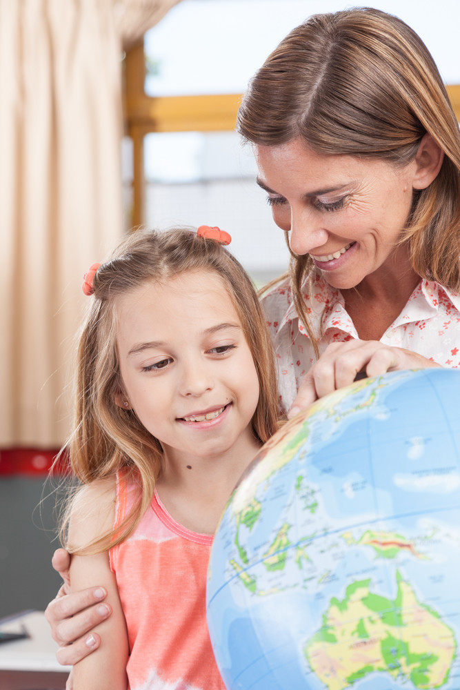 woman teaching geography.