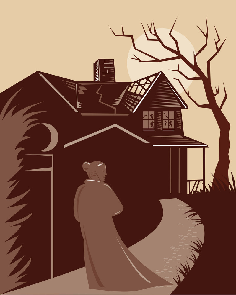 Woman Walking Old Mansion