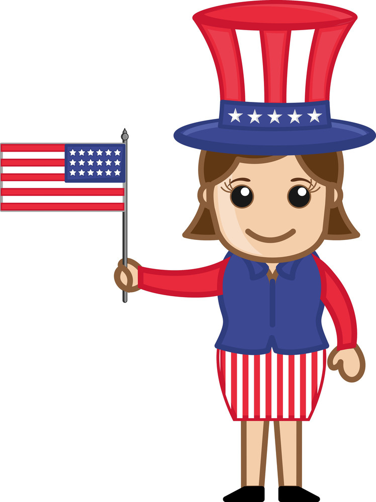 Woman Weraing 4th Of July Costume As Uncle Sam - Cartoon Business Characters