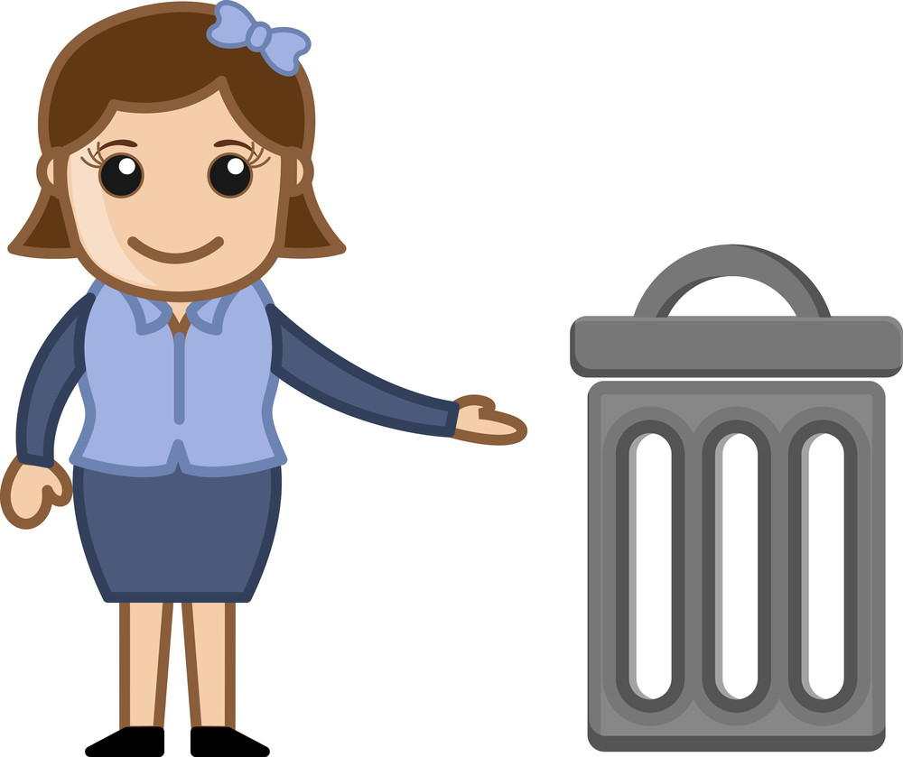Woman With A Trash Bin