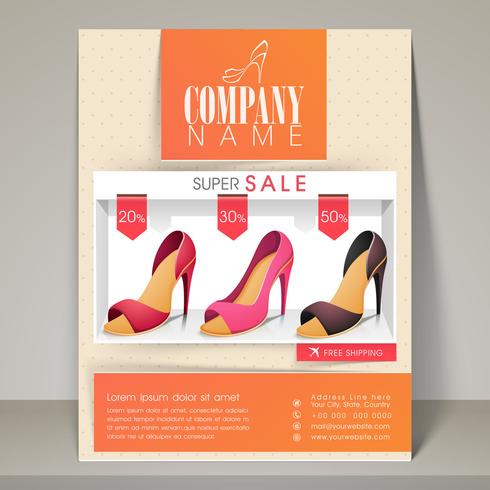Woman's sandal sale flyer banner or template with different discount offers.