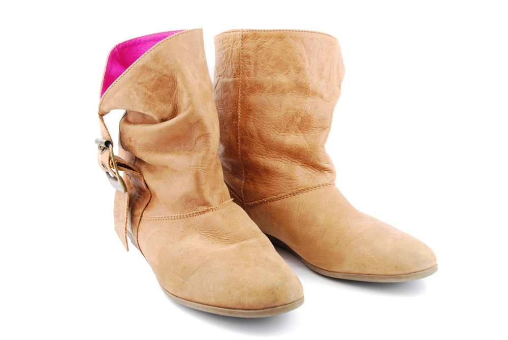 Women Leather Brown Boots On White