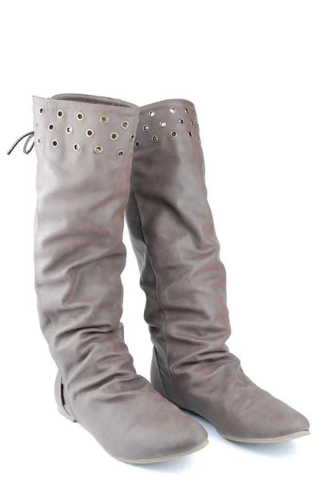 Women Leather Dark Brown Boots On White