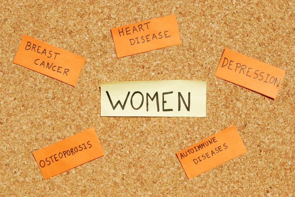 Women's Health Concerns On A Cork Board