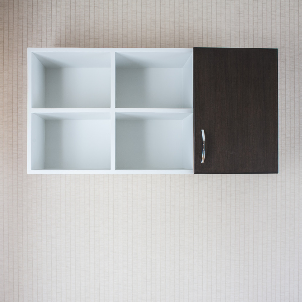 Wood cabinet on wall