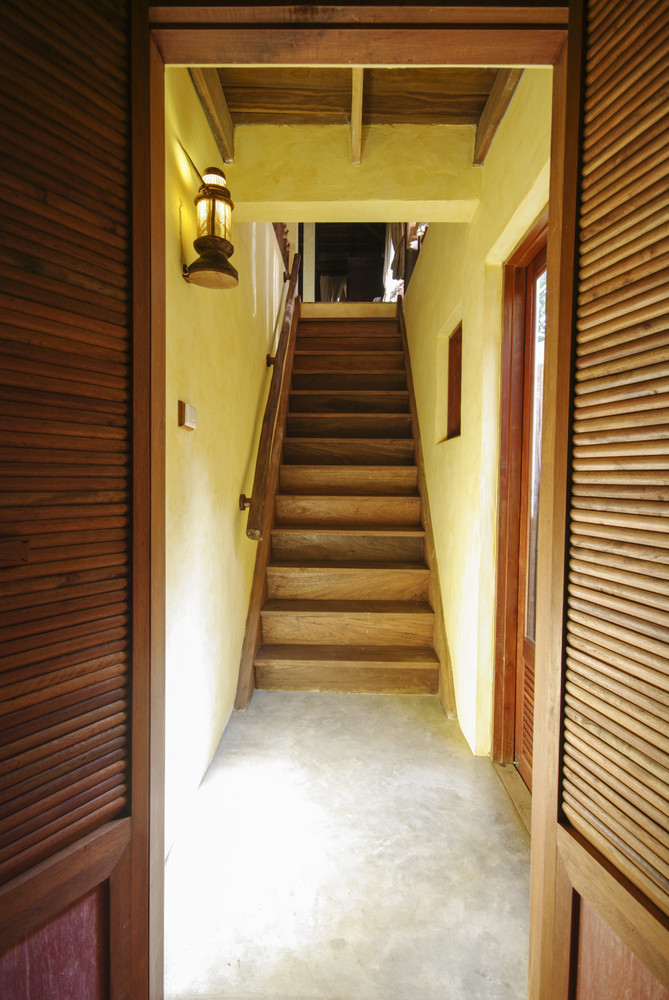 Wood stair to the room