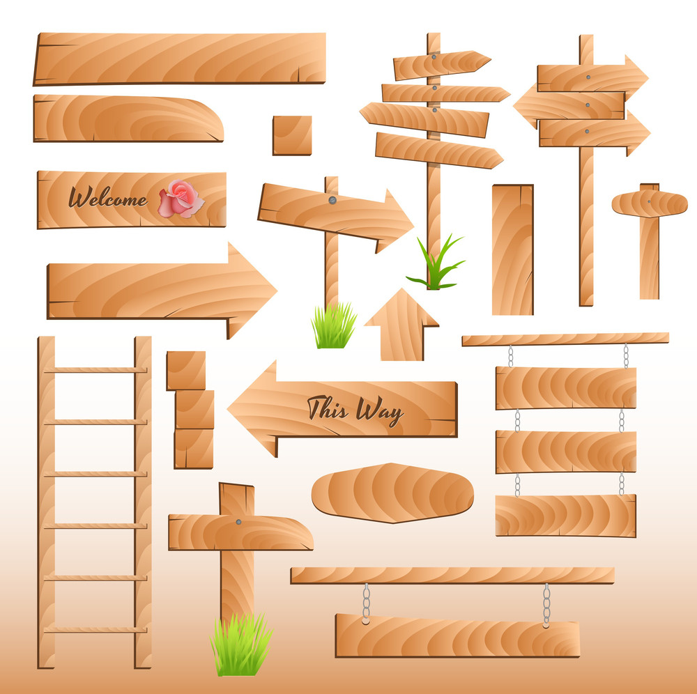Wooden Banners And Elements Vectors