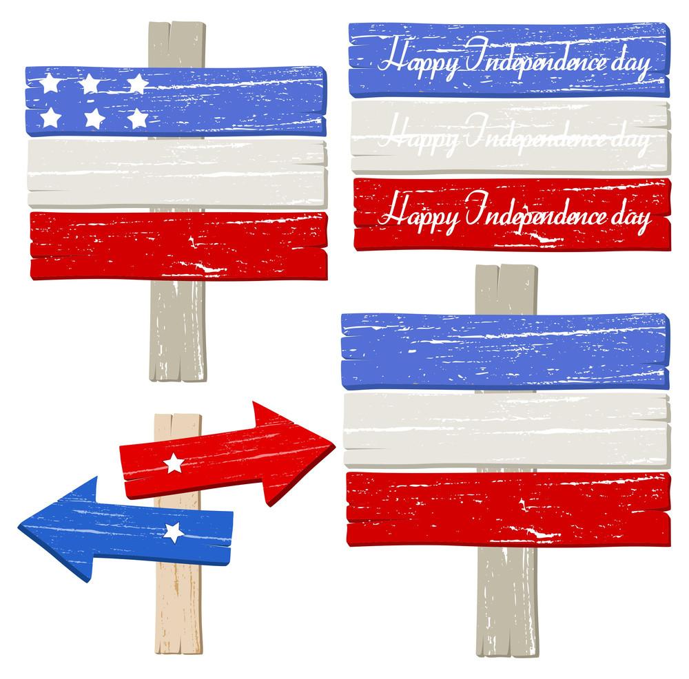Wooden Boards Set Patriotic Usa Theme Vector