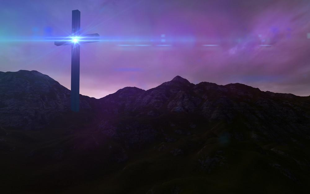 Wooden Cross In Night