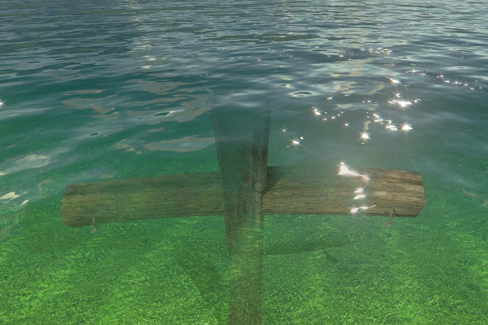 Wooden Cross Under Water