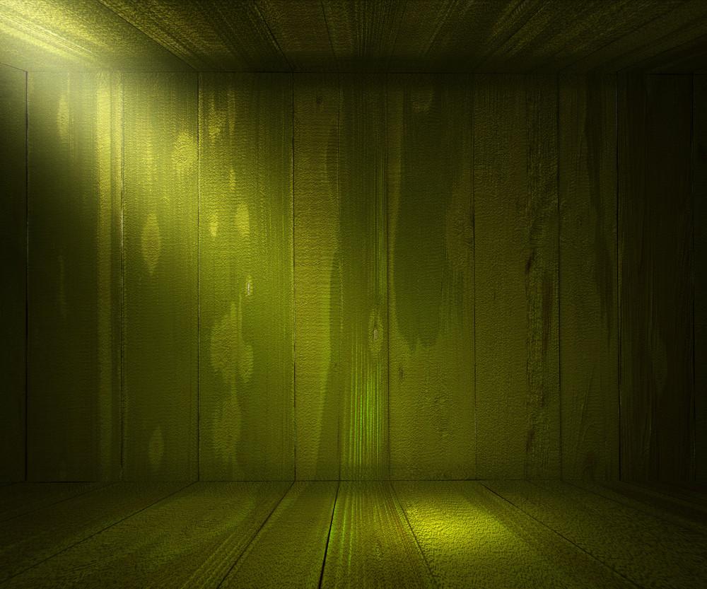 Wooden Spotlight Room Green Background