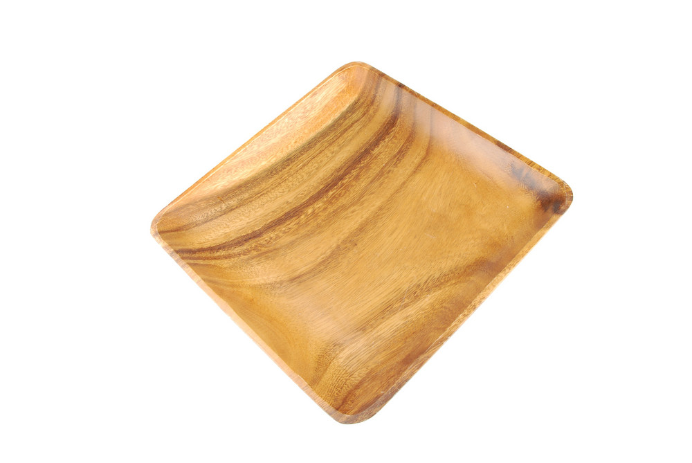 Wooden Tray On White