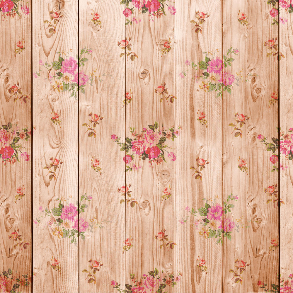 Design Texture Of Flower Painted Wooden Boards