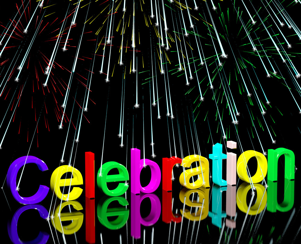 Word Celebration With Fireworks For New Years Or Independance