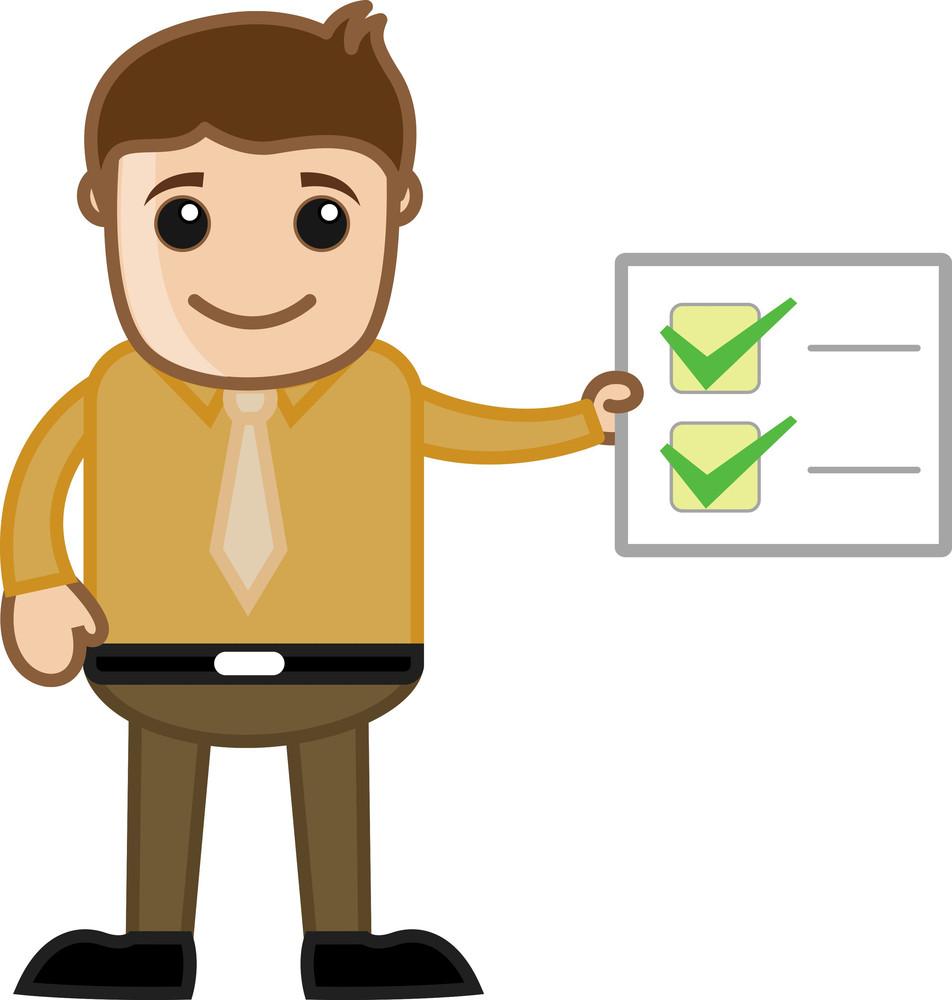 Work Done Checklist - Business Cartoon