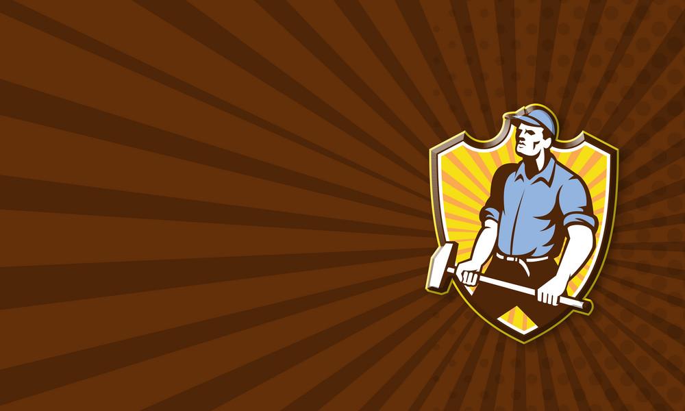 Worker Wielding Sledgehammer Crest Retro