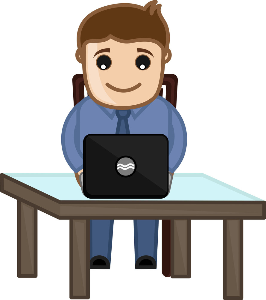 Working On Laptop - Vector Character Cartoon Illustration