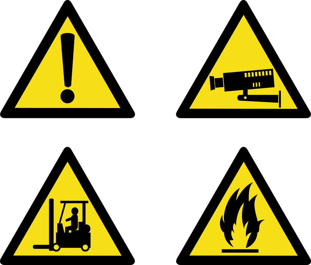 Workplace Sign Security Camera Forklift Flammable