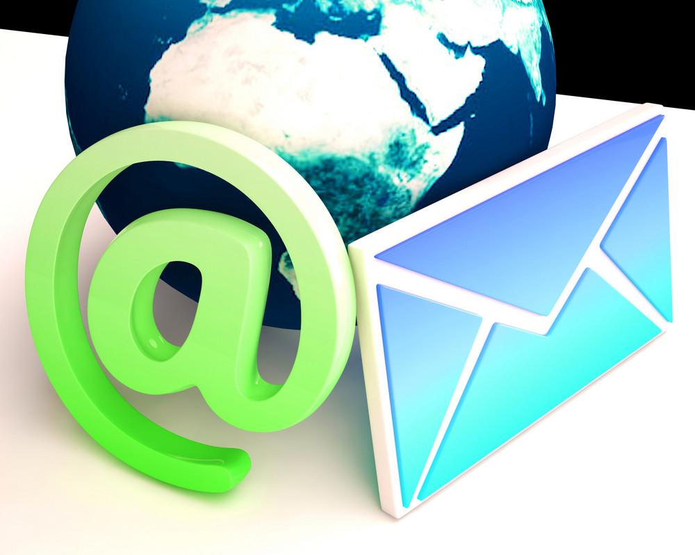 World Email Shows Communication Worldwide Through Www
