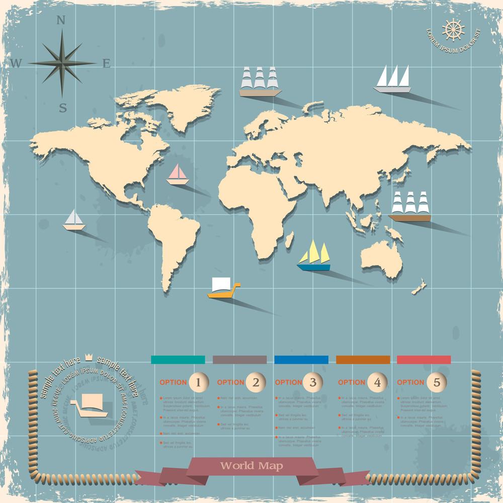 World Map In Retro Style Design