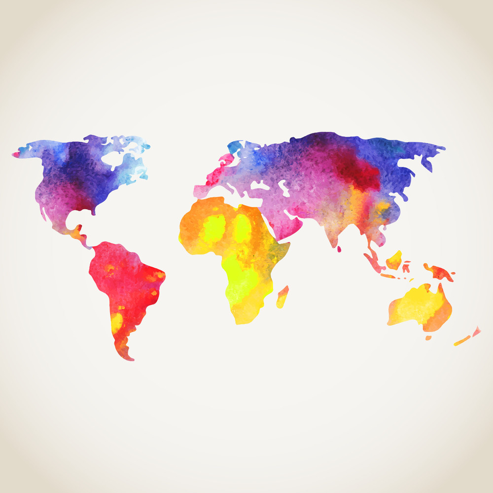 World Map Painted With Watercolors