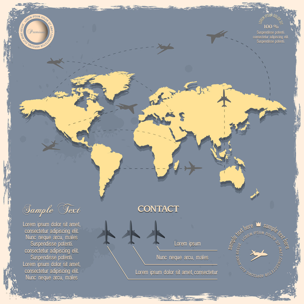 World map with aircrafts for design in vintage style royalty free world map with aircrafts for design in vintage style gumiabroncs Gallery