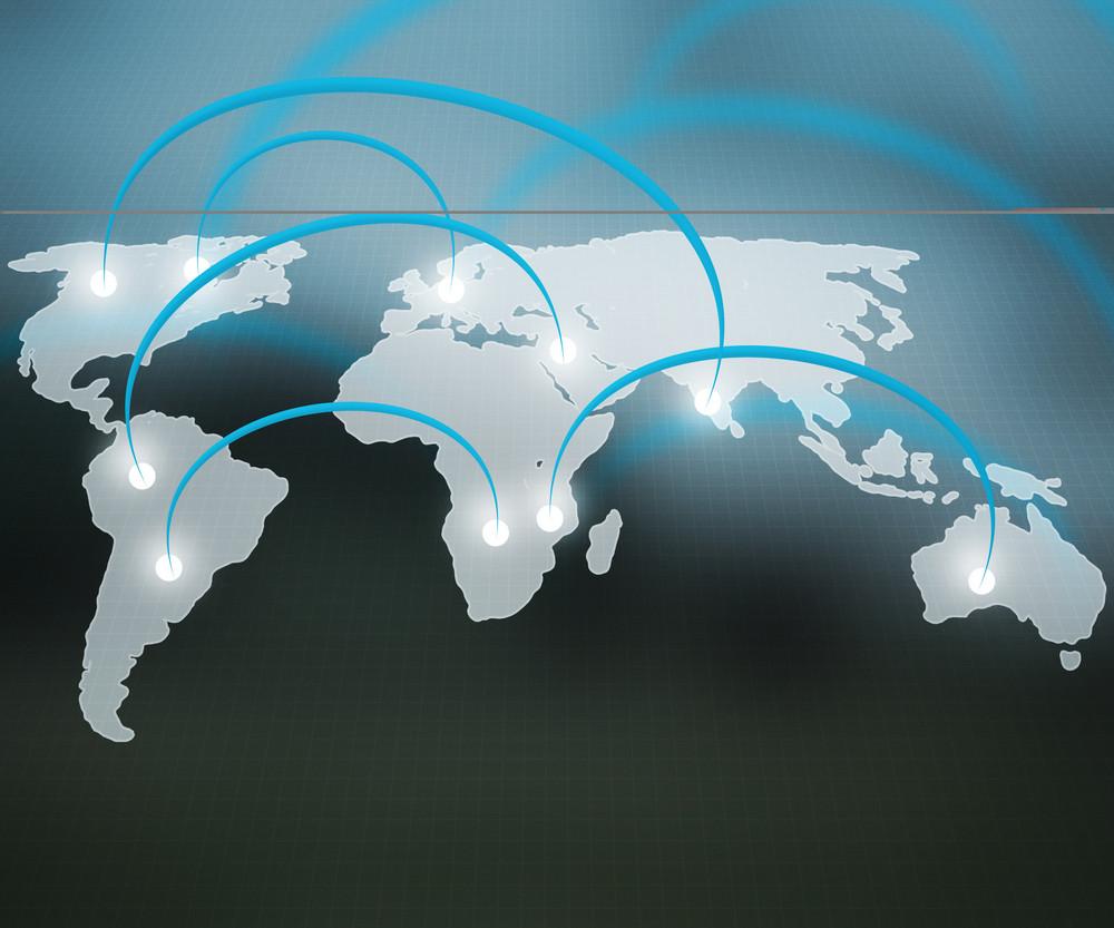World Network Blue Background