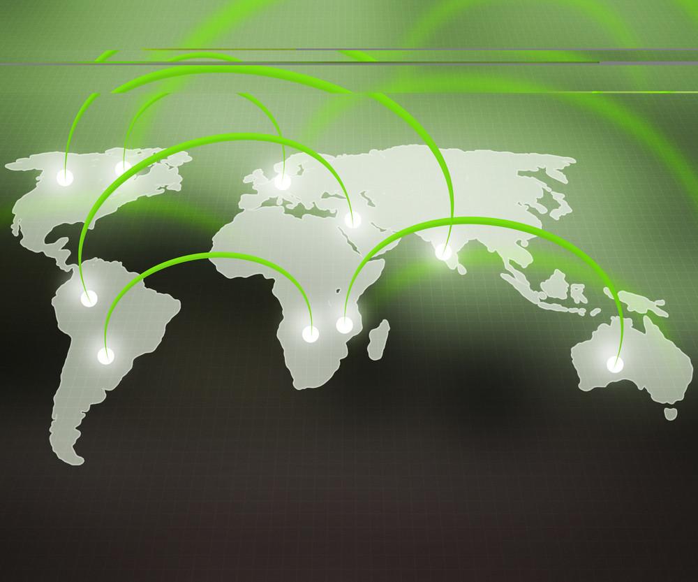 World Network Green Background