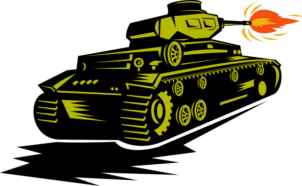 World War Two Battle Tank Firing Cannon