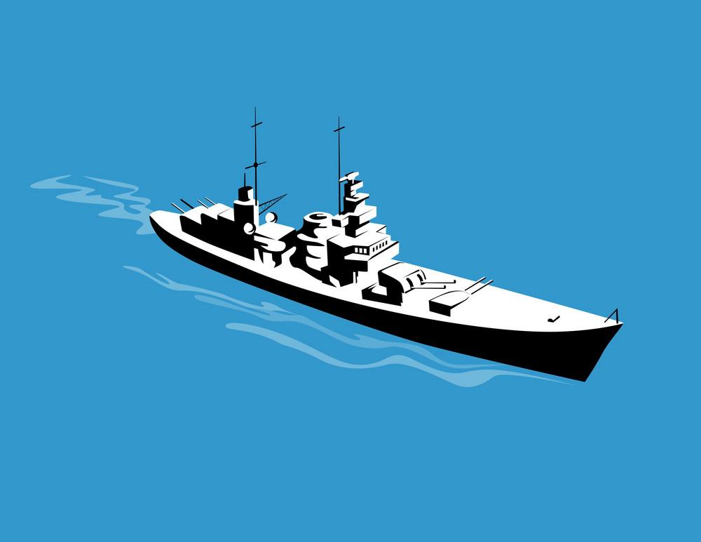 World War Two Battleship Warship Cruiser Retro