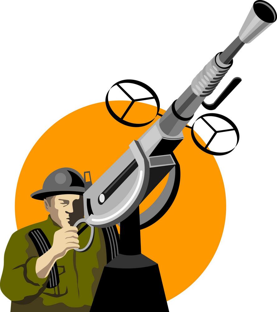World War Two British Soldier Machine Gun