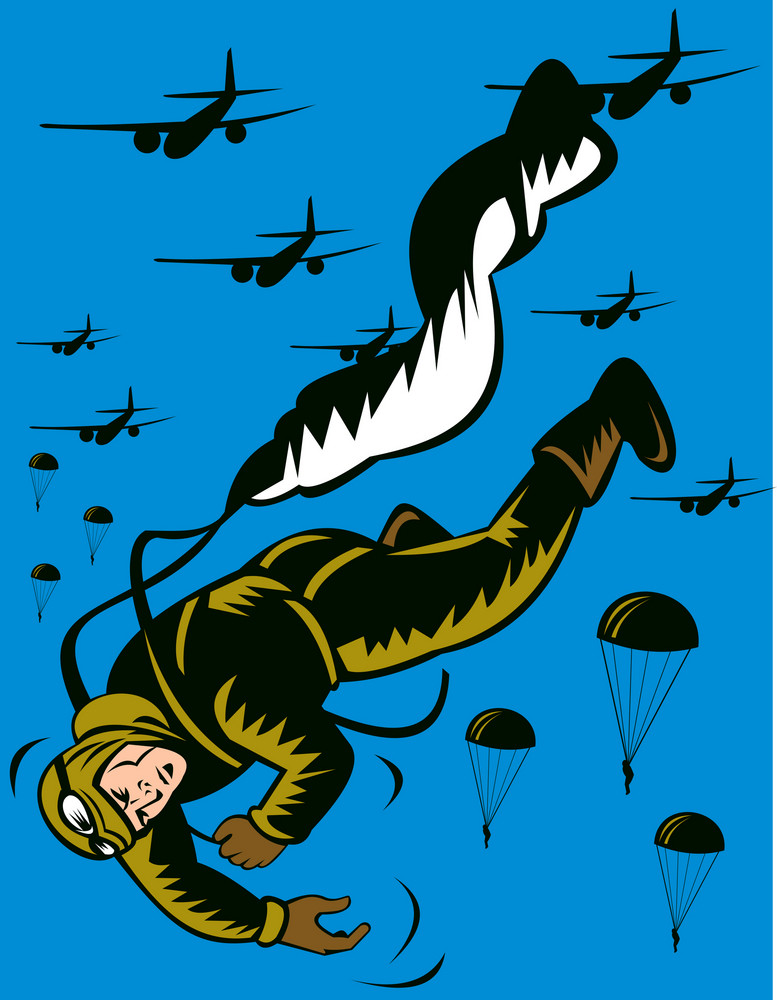 World War Two Soldier Parachuting Pulling Cord