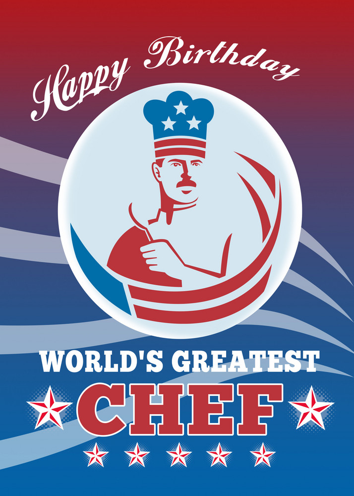 World's Greatest Chef Happy Birthday Greeting Card Poster