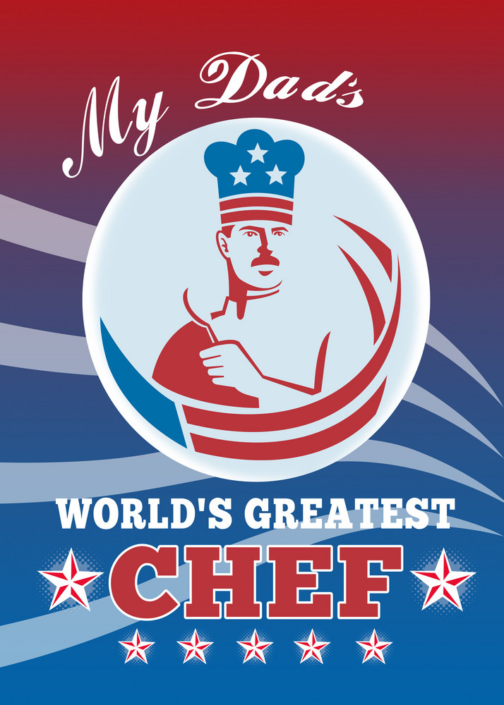 World's Greatest Dad Chef Greeting Card Poster