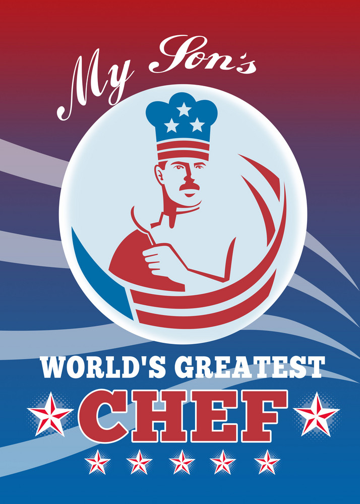 World's Greatest Son Chef Greeting Card Poster