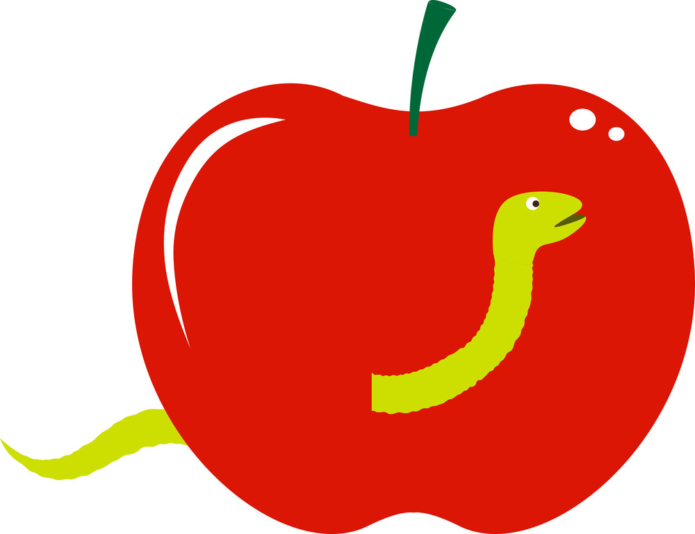 Worm Coming From Apple