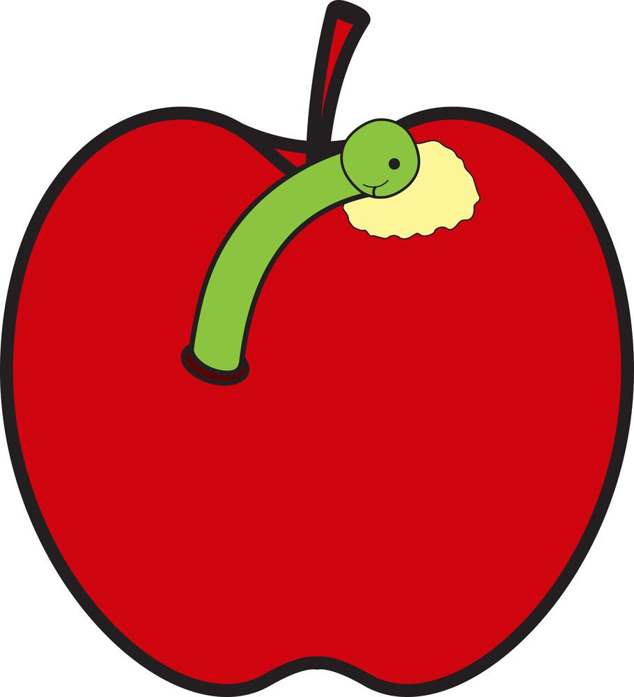 Worm Eating Apple