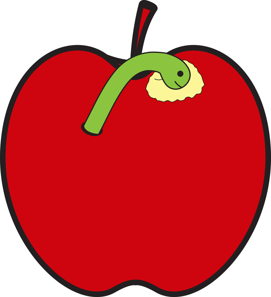 Worm Eating Apple
