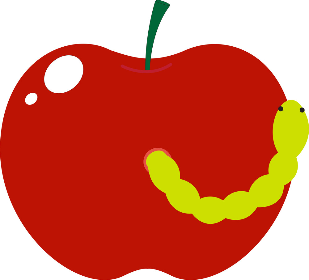 Worm With Apple Vector