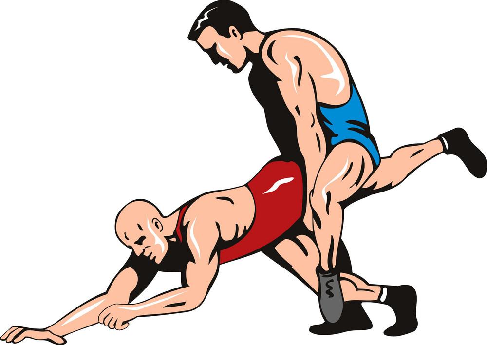 Wrestlers Fighting Retro