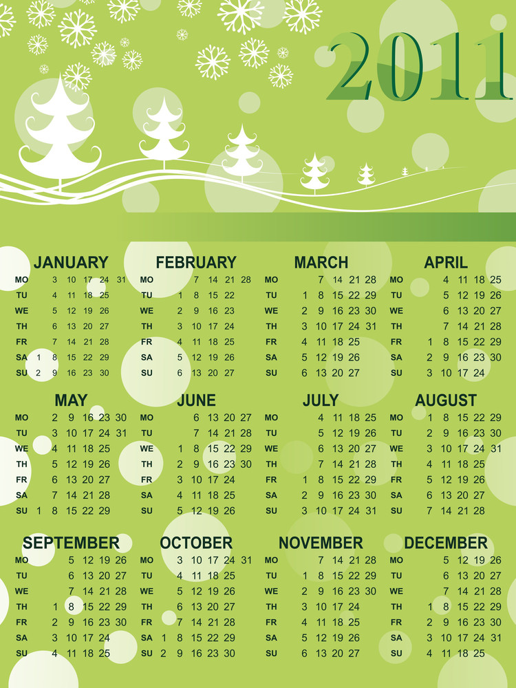 Xmas Background Calendar For 2011