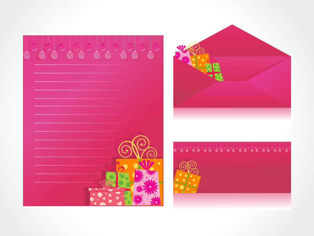 Xmas Letter Head And Envelope In Pink With Gifts