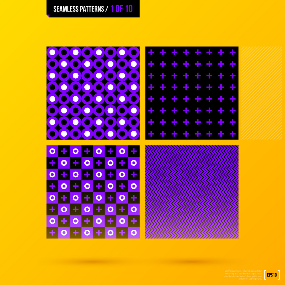 Four Corporate Seamless Patterns On Bright Yellow Background. Eps10