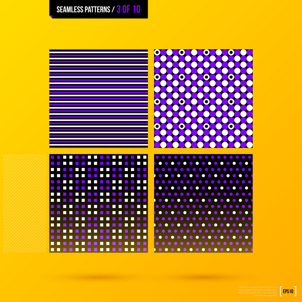 Set Of 4 Corporate Patterns On Bright Yellow Background. Eps10