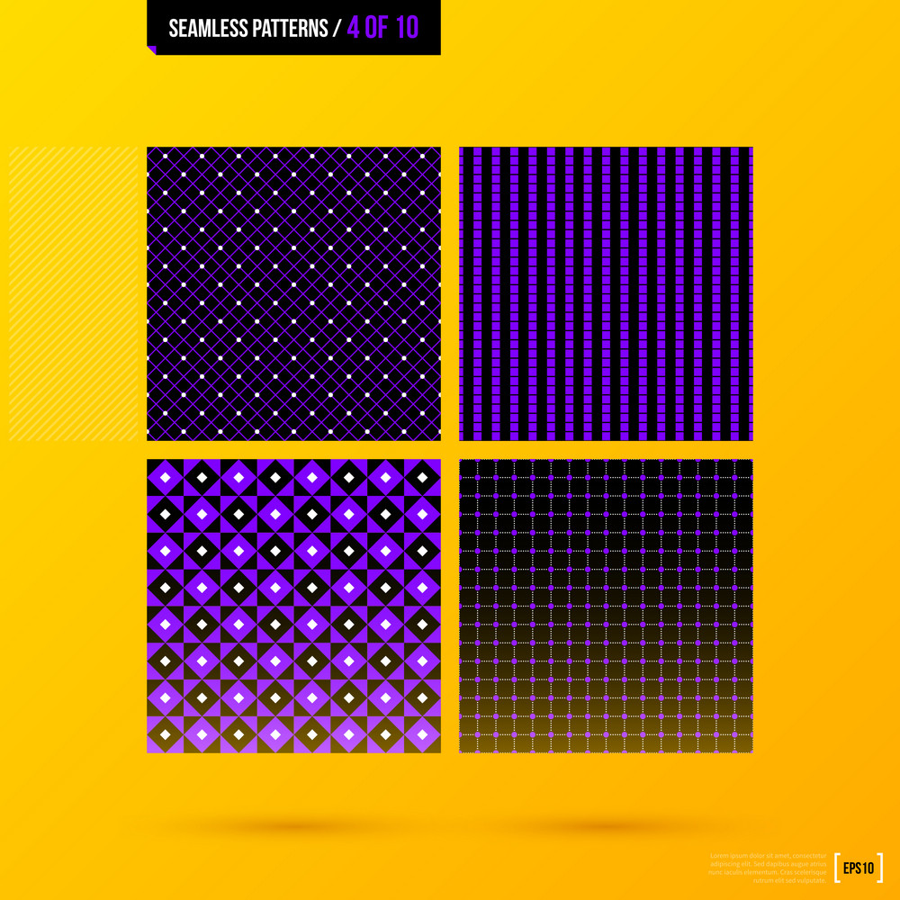 Set Of 4 Corporate Seamless Patterns On Bright Yellow Background. Eps10