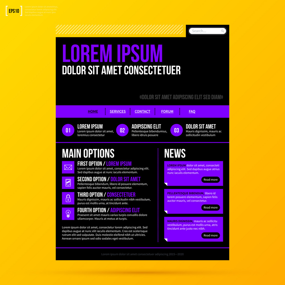 Web Site Template On Bright Yellow Background. Eps10